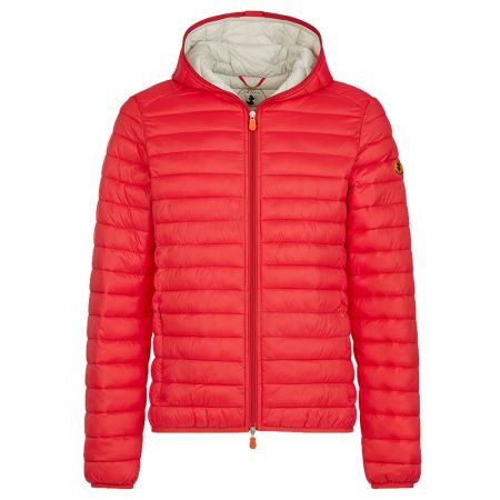 Save The Duck MENS GIGA PUFFER HOODED JACKET IN TOMATO RED